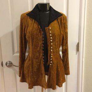 Vintage Prince-esque gold velvet shirt jacket